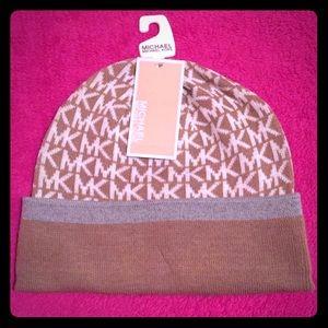 MK Signature Logo Knit Beanie Hat